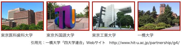 引用元 一橋大学「四大学連合」Webサイト http://www.hit-u.ac.jp/partnership/g4/